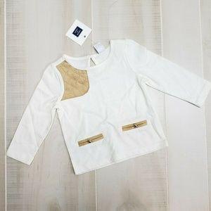 Janie and Jack Girls Shirt 6-12 M White NWT ~ ER16